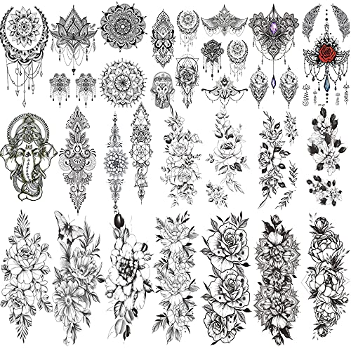 Jeefonna 21 Sheets Flowers Temporary Tattoos for Women, Waterproof Fake Tattoos Peony Body Art Arm Tattoo Stickers, Black Henna Mandala Tattoo for Women Girls