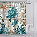 Yeacun Sea Turtle Shower Curtain 72' x 72', Blue Ocean Creature Landscape Shower Curtains, Funny Shower Curtains with 12Hooks, Polyester Fabric Waterproof Curtains for Bathroom Beach Theme Decor