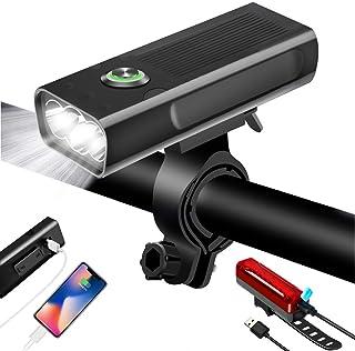 自転車ライト USB充電式 LEDヘッドライト 大容量5200mah USB充電式テールライト付き スマホ充電可能 自転車ヘッドライト 高輝度IPX5 防水 防振 アルミ合金製 懐中電灯兼用 ブラック