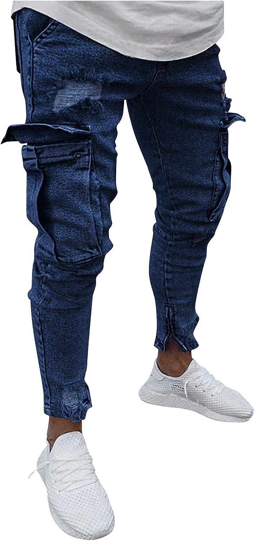 Men's Tapered Jean Pants Stretch Slim Fit Frayed Ripped Jeans Multi-Pocket Fashion Versatile Skinny Denim Pants - Limsea