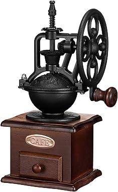 Manual Coffee Grinder,IMAVO Vintage Style 【Great Gift】 Wooden Coffee Grinder Roller Grain Mill Hand Crank Coffee Grinders - C