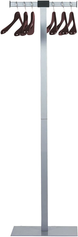 UNILUX Garderobenstnder Spirit aus Stahl in grau ink. 6 Massivholz-Holzbügel 175 cm hoch - Kleiderstnder Mantelstnder Garderobe