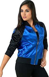 Balera Jacket Girls Bomber for Dance Long Sleeve Satin Zip Up Athletic Coat