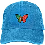 Gorra de béisbol con diseño de mariposas y bandera portuguesa, ajustable, estilo vintage, de algodón lavado, color azul