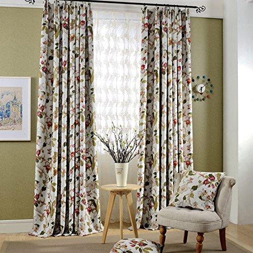 adaada 2er-Set Romantische Gardinen Vintage Vorhänge Mit Kräuselband,Klassische Blickdicht Vorhänge Für Schlafzimmer Wohnzimmer (Stoffvorhang, 245x140cm)