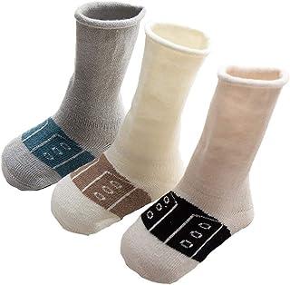 Da.Wa, Da.Wa 3 Pares Calcetines Gruesos para Bebés Calcetines Largos de Algodón Suela Antideslizantes para Niños Recién Nacidos Invierno Cálidos Suaves y Cómodos (XS 0-6 meses)