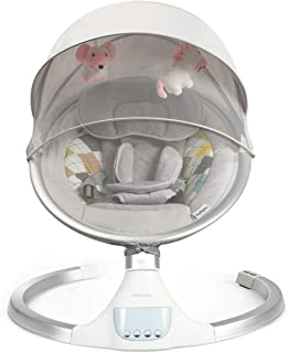 BABY JOY Baby Swing, Bluetooth Baby Rocker w/Removable Crib Netting, Toys, 5-Point Harness, Music, USB, Electric Cradling ...