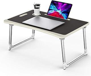 KELOFO Mesa para Ordenador Portátil, Portátil Mesa Cama Plegable Mesa Escritorio Plegable con Portavasos/Soporte para Tableta/Manija (65 * 45 cm, Negro)