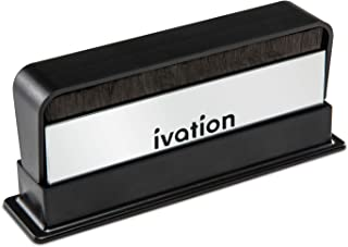 Ivation 2-in-1 Vinyl Record Cleaning Brush with Carbon Fiber and Velvet Brushes Includes Swivel Cover & Stand for Secure Storage