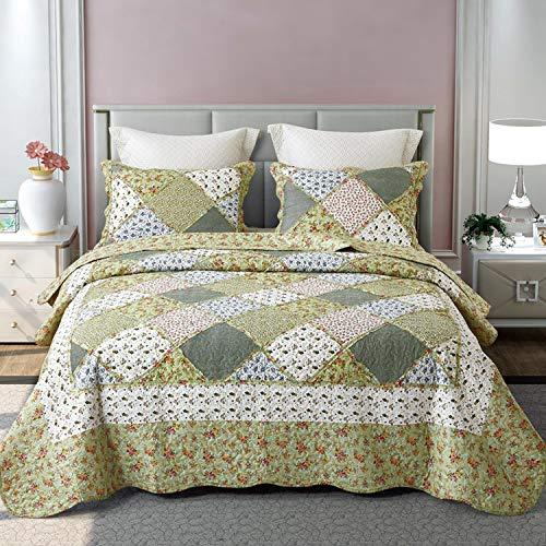 Asvert 3 Teilig Bettwäscheset Polyester 220 * 240 cm Tagesdecke Bettüberwurf Steppdecke Patchwork Bettdecke Doppelbett (240 x 220 cm, Grün 1)