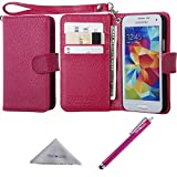 Wisdompro S5 Mini Case, Premium PU Leather Protective Folio Flip Wallet Case with Credit Card Holder/Slot and Wrist Lanyard for Samsung Galaxy S5 Mini G800F G800H G800H/DS (NOT Fit S5)-Hot Pink