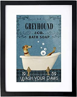 VinMea Art Print Wall Art,Greyhound in Bathtub Bath Soap Wash Your Paws Frames with High Definition Glass,Home/Office Wall...