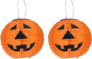 Mobestech Halloween Pumpkin Lantern LED Solar Lights Lamp with Handle Halloween Indoor Outdoor Holiday Party Decor(Orange)