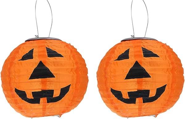 Mobestech Halloween Pumpkin Lantern LED Solar Lights Lamp With Handle Halloween Indoor Outdoor Holiday Party Decor Orange
