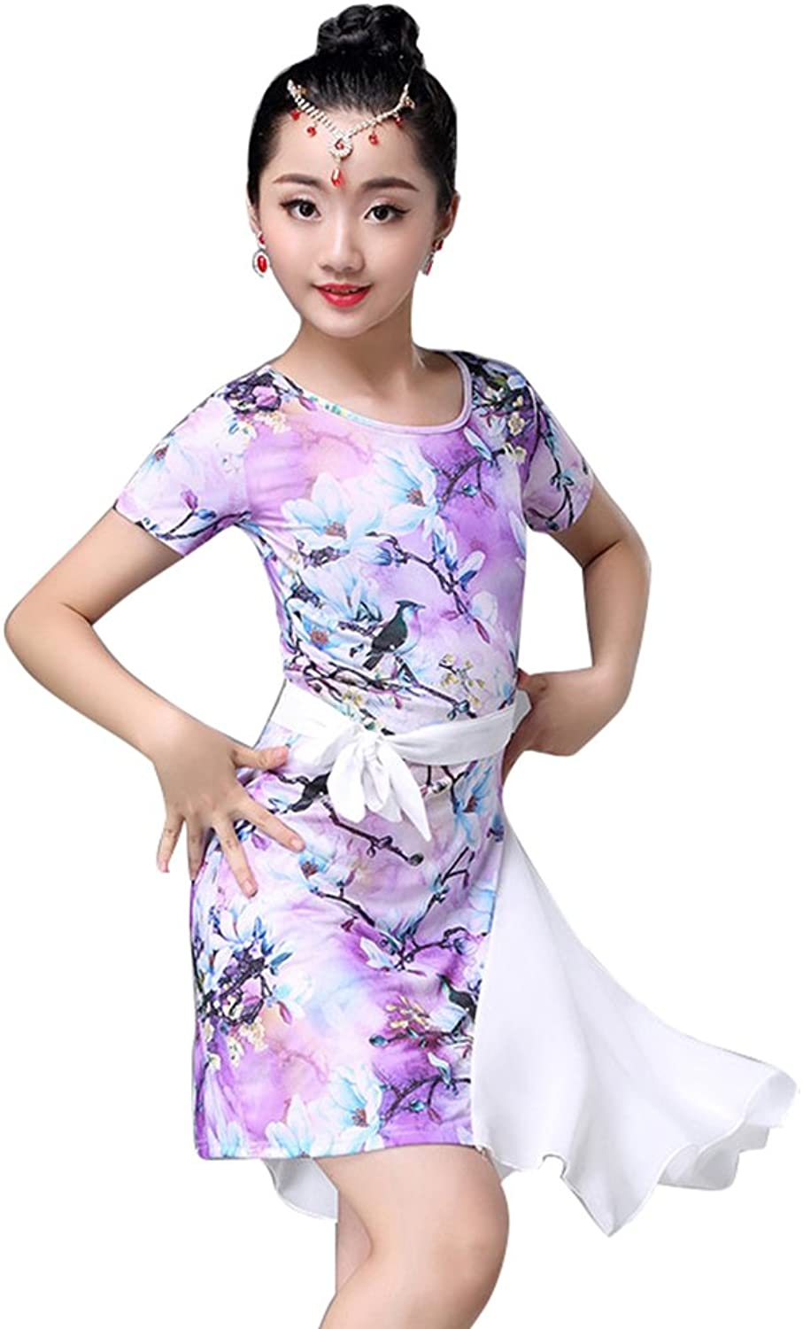 YUMEIREN Purple Girls Latin Dance Dress
