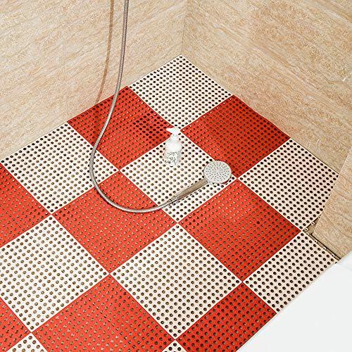 Hcxbb-e PVC-badkamermat, anti-slip naaien DIY keukenbadkamermat-waterdichte drainage-vloer-voet-badkamermat 30x30cm (kleur: I, maat: 24 stuks)