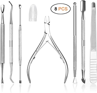 HIFAU 8PCS Premium Cuticle Nippers Pusher Manicure Tools Set, Professional Ingrown Toenail File, Cuticle Remover Trimmer Cutters Tool Gel Nail Art Kit, Stainless Steel, Travel, Gift