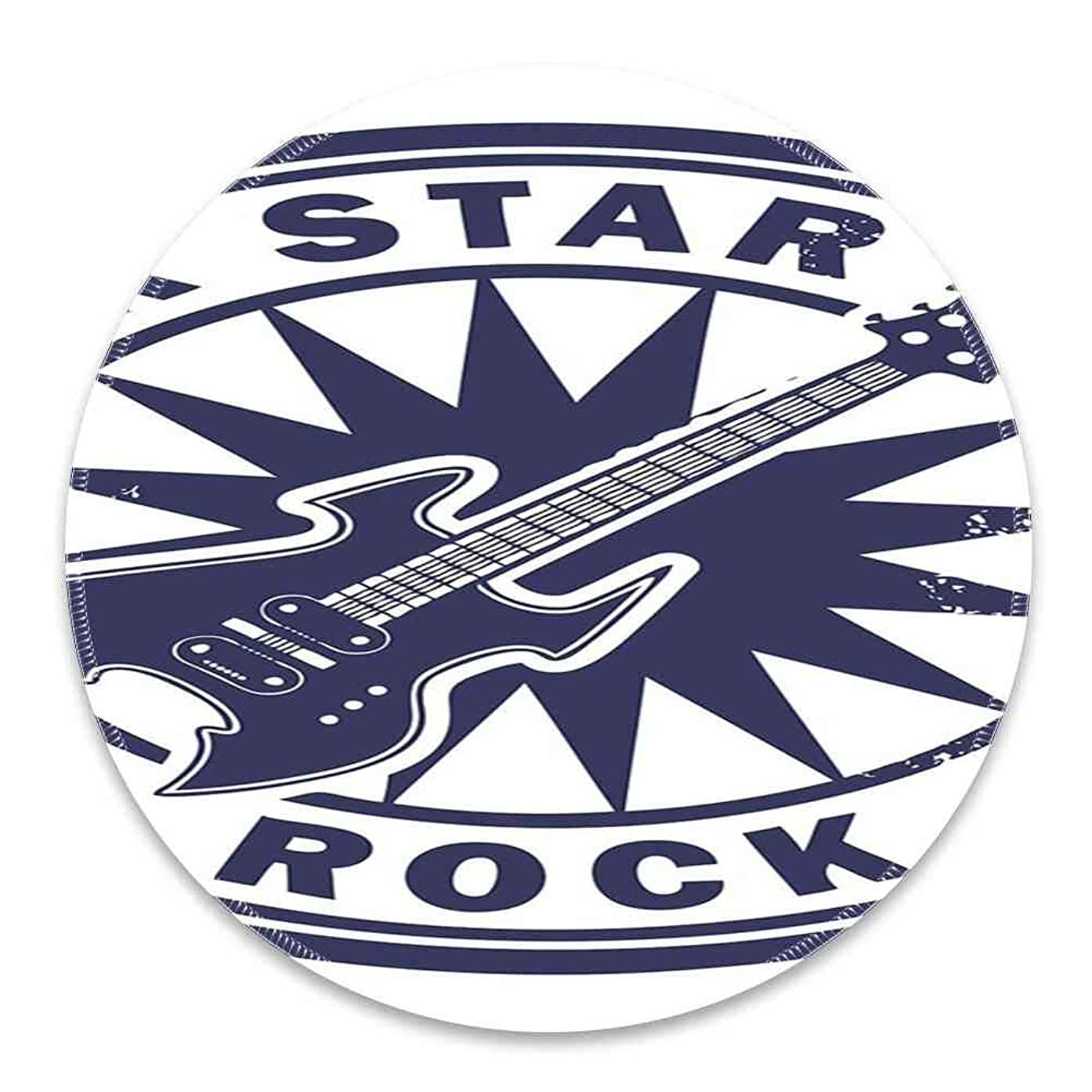 Round Mouse Pad Mousepad with Rock Music,Vintage Logo Design Guitar and Sun Pattern Grunge Stamp Monochrome Illustration,Cobalt Blue Pattern Gel Rubber for Gaming Office - 200MMx3MM