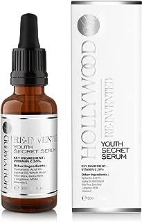 Youth Secret Serum - 20% de Vitamina C + 4% ¡de Ácido Hialurónico! 4 veces más FUERTE que tratamientos anti-edad regulares. ¡EFECTO BOTOX! 30ml.