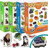 Magdum 4 Sets Foto Granja+ Zoo Animales+ Frutas+ Verduras Imanes de Nevera (85 Piezas) para Niño -Magnético Educational Aprender Juguete Bebé 3 años- Cocina Imán- CUMPLEAÑOS O Navidad Regalo Conjunto