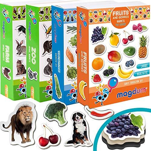 magdum 4 Set Foto Bauernhof+ Zoo Tiere+ Obst+ Gemüse Kühlschrank Magnete (85 Stück) für Kind Kleinkind- Pädagogisches Baby Spielzeug-Lernen Magnet für 3 Jahre-Geburtstag Weihnachten Geschenk Set