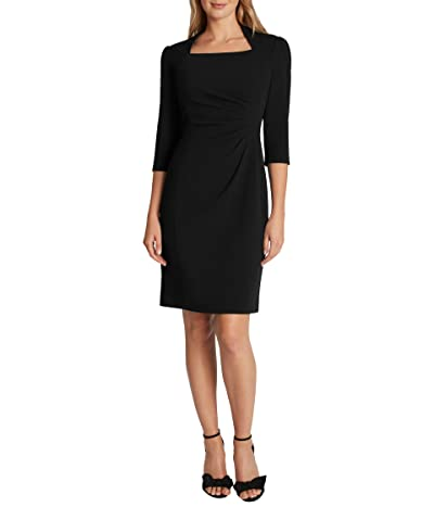 Tahari by ASL Square Neck Long Sleeve Side Draped Sheath Dress (Black) Women