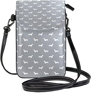 LORONA Dachshund Pattern Minimal Grey And White Dog Cell Phone Purse Wallet for Women Girl Small Crossbody Purse Bags