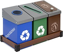 DeskMate 3 Bin Recycling and Waste Station - Brown, Blue, Green