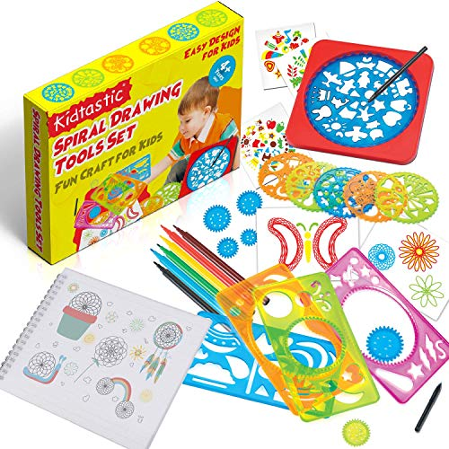 Kidtastic Spiral Drawing Kit for Kids Ages 3 and Up – Design-Your-own Creativity Set, Colorful Pens & Stencil Pattern Artworks with A4 Paper Sketch Pad