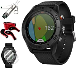 Garmin Approach S60 Golf Watch Black w/Black Band + Screen Protector (2Pack) + 7-in-1 Multi-Function Golf Tool + Neoprene Zippered Headcover for Golf Club Iron Head Covers Set + Extended Warranty