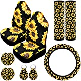 9 Pieces Sunflower Car Accessories, Include Sunflower Steering Wheel Cover, 2 Pieces Car Front Seat Covers, 2 Pieces Seat Belt Covers, 2 Pieces Car Cup Holder Coaster and 2 Pieces Sunflower Keyring