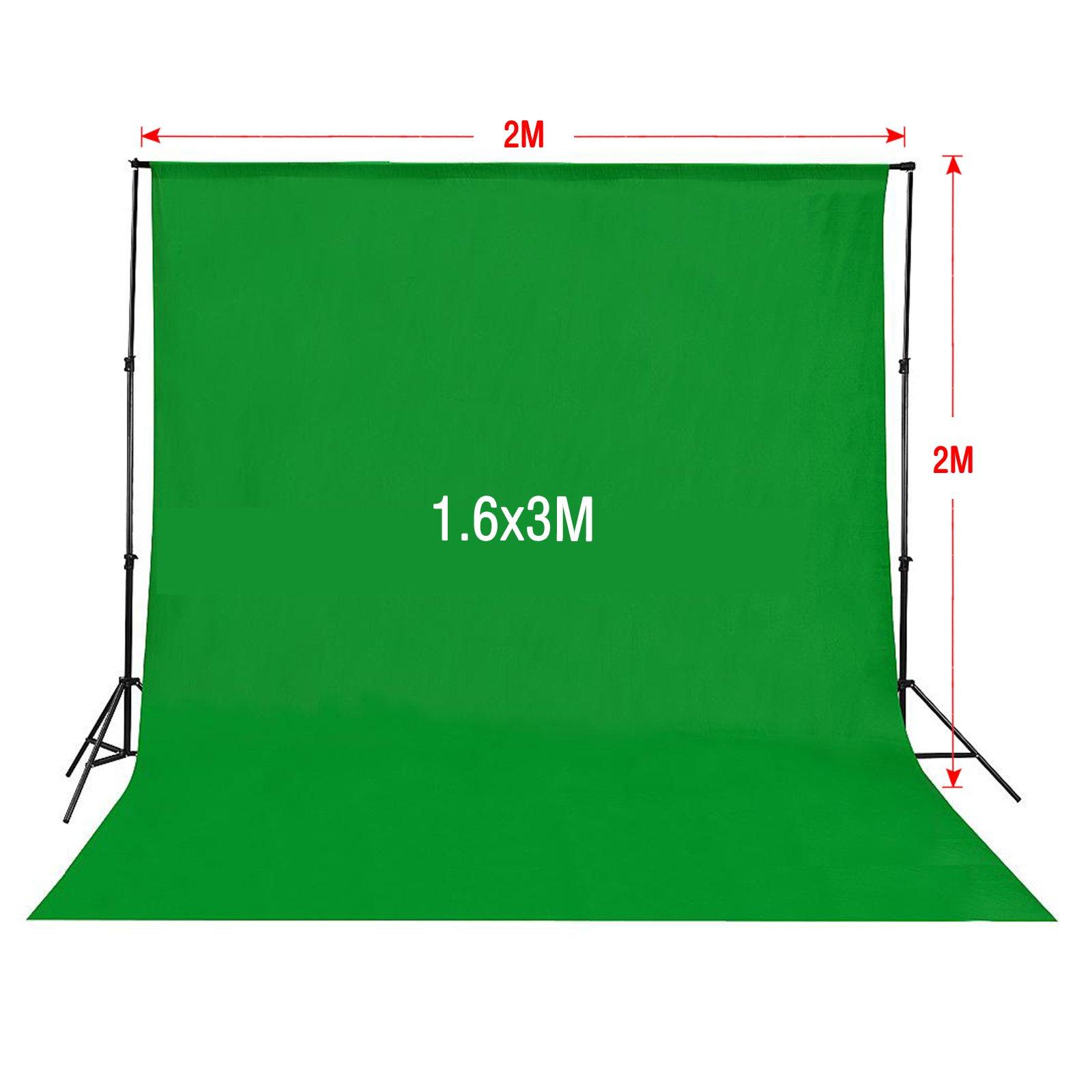 estudio fotográfico kit estudio de la iluminación Contínua 2 paraguas + blanco, verde, negro y negro + Soporte del fondo + trípode de luz + lámpara de 135 W: Amazon.es: Electrónica