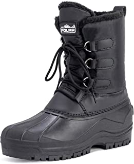 Polar Mens Muck Lace Up Short Nylon Winter Snow Rain Lace Up Casual Duck Boots