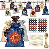 HOSPAOP Adventskalender zum Befüllen Stoff, 24 Weihnachten Geschenksäckchen Bastelset mit Zahlen Aufkleber, Adventskalender Tüten zum selber befüllbar und Aufhängen für DIY Handwerk Männer Kinder