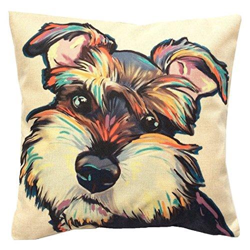 "Moyun ""Cute Pet"" Dogs Pattern Cotton Linen Home Decor Throw Pillow Case Cushion Cover (Schnauzer)"