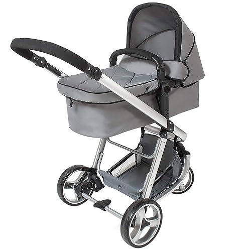 TecTake 3 en 1 Poussette Canne de Voyage Voiture d'Enfants Baby Confort Jogger - diverses couleurs au choix - (Gris)