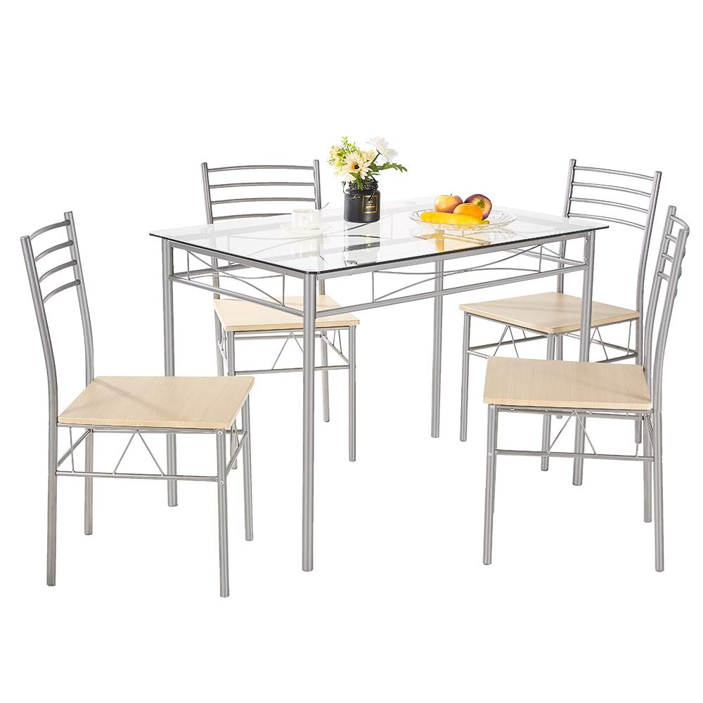 AMERLIFE Glass Dining Table Set with 9 Chairs Modern Tempered ...