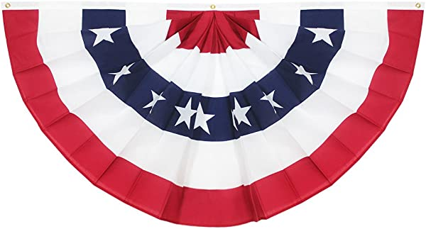 Anley USA Pleated Fan Flag 3x6 Feet American US Bunting Flags Patriotic Stars Stripes Sharp Color And Fade Resistant Canvas Header And Brass Grommets United States 3 X 6 Feet Half Fan Banner