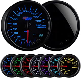 GlowShift Tinted 7 Color 140 MPH Speedometer Gauge - Mounts in Custom Dashboard - Resettable Trip Meter - Black Dial - Smoked Lens - 3-3/4 95mm