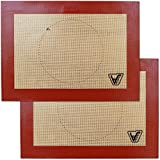 Silicone Baking Mat for Toaster Oven - Set of 2 mats (Size 7 7/8' x 10 13/16') - Non Stick Silicon...