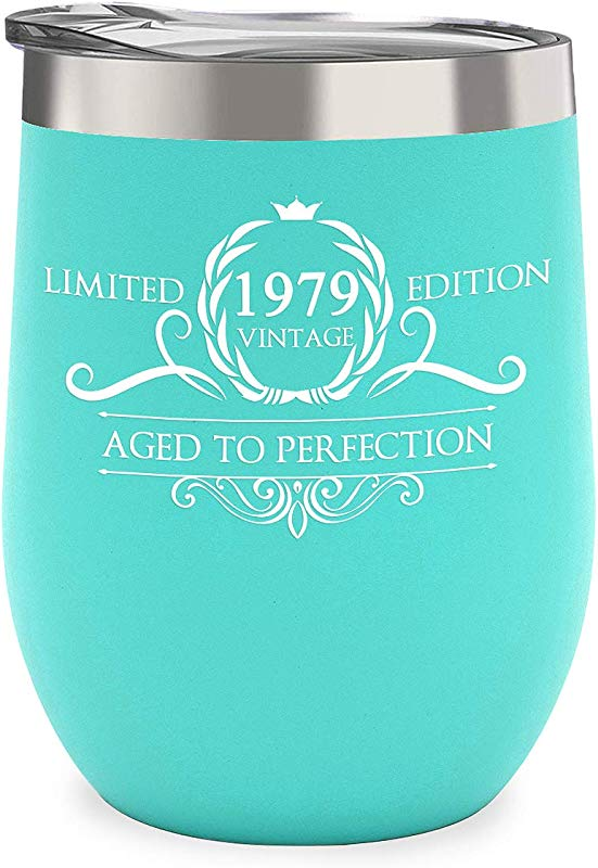 1979 40th Birthday Gifts For Women Men Vintage Anniversary Gift Ideas For Husband Wife Mom Dad Party Decorations Supplies For Him Her 12 Oz Stainless Steel Wine Glass Tumbler With Lid