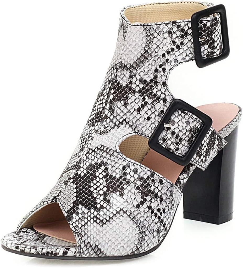 MIOKE Women's Peep Toe Chunky Block High Heel Sandals Lace Up Zipper Serpentine Dress Heeled Pump Shoes