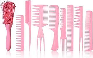 9pcs Hair Comb Kit Hair Detangler Barber Styling Comb Set Hair Cutting Comb Set Salon -static Stylists Comb Clip Set for W...