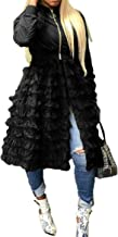 LROSEY Women Jackets Dress Long Sleeve Zipper Ruffle Sheer Mesh Patchwork Dress Bomber Jacket Outwear Plus Size