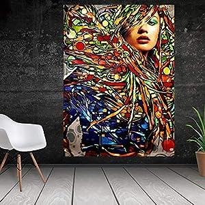 YuanMinglu Abstracto Moderno Olla Arte de la Pared Pintura de la Lona Street Graffiti Art Boca Pintura Labios Pintura Mural decoración sin Marco Pintura 60x80cm