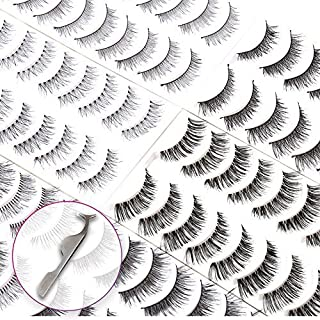 60 Pairs Natural False Eyelashes Pack with Tweezers   Ultra-Thin Lash Band   Reusable Best Strip Fake Lashes Set   Perfect for All Eye Shape by Bella Hair