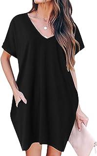 ZANZEA Donna Collare tondo vestito a maniche lunghe 12 Blu2