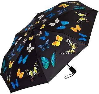 Paraguas Bolsillo Plegable Ligero Estable Compacto Apertura y Cierre Automático Baile de Mariposas
