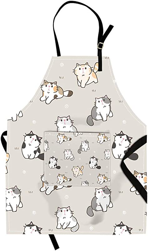 Qchengsan Cat Apron Cute Cat Animal Image Unisex Kitchen Bib Apron With Pocket And Adjustable Neck For Cooking Baking Gardening 19 Wx23 L 11