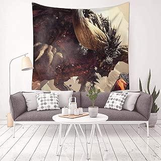 MARI DM World-Monster-Hunter Tapestry Wall Hanging Home Decor 3D Blanket for Bedroom Living Room Dorm 59.1 X 59.1 Inch